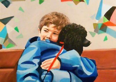 Chłopiec z pudlem Agnieszka Nowacka-min